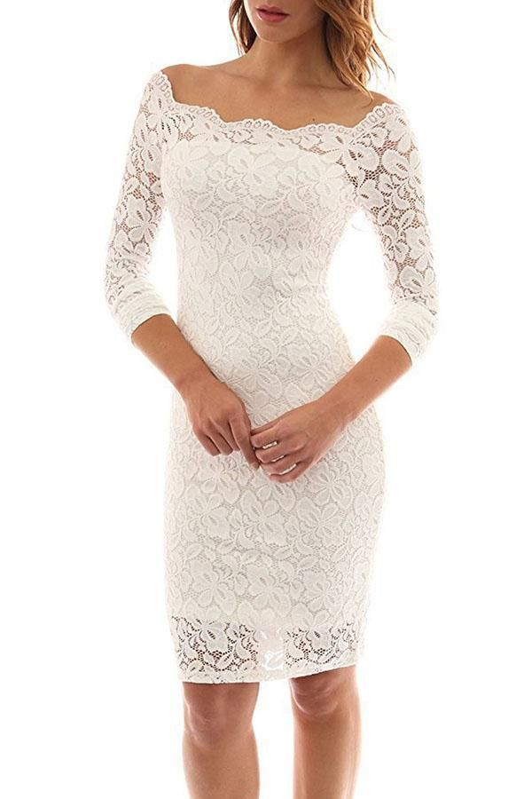 8170e64274e5 Open Shoulder Plain Long Sleeve Bodycon Dresses. #summer #longsleeves  #sheinstreet #bodycondress