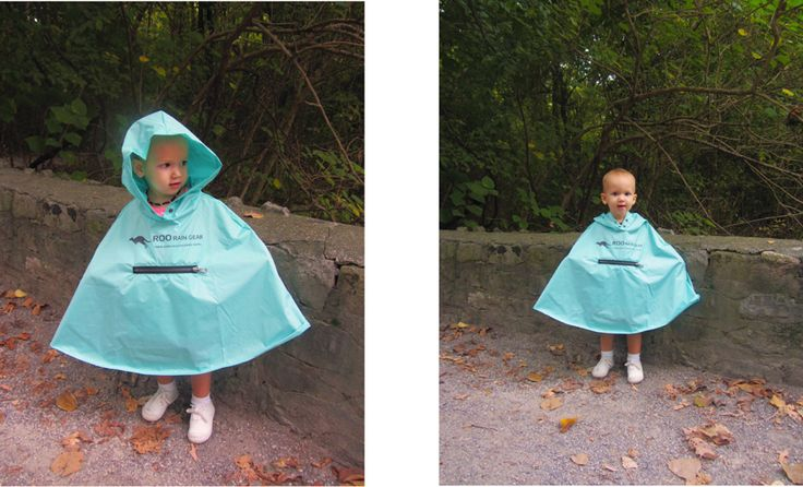 A toddler wearing our size 3-4 Roo Rain Gear waterproof poncho.  RPET made from recycled plastic bottles