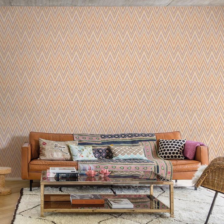 On trend chevron wallpaper design from the Galerie Origine collection!