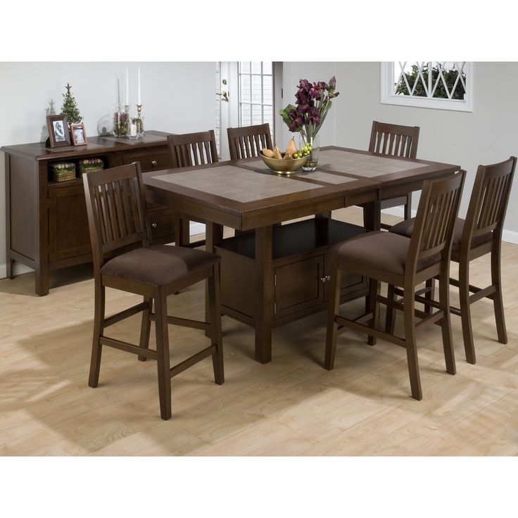 jofran trumbull 7 piece counter height dining table set with optional server from hayneedle. beautiful ideas. Home Design Ideas