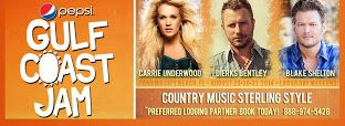 PEPSI GULF COAST JAM August 29-31, 2014 in Frank Brown Park! Highlights include performances by Carrie Underwood, Blake Shelton, and Dierks Bentley!  Tickets selling fast! For more information on schedule, or to purchase your tickets, go to the website:  http://www.gulfcoastjam.com/  This post courtesy of PremiumBeachCondos.com  #thingstodo   #specialevents   #beachfun   #concerts