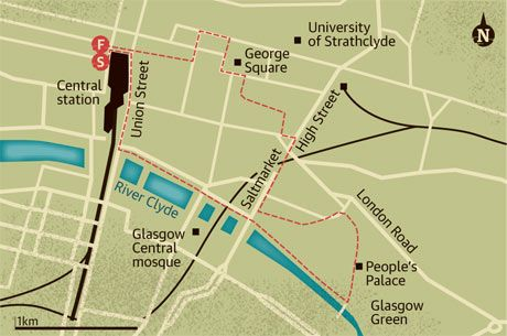 Walking route: Glasgow city centre  A diverting turn through the heart of Glasgow that includes a circuit around one of the city's glorious green spaces.
