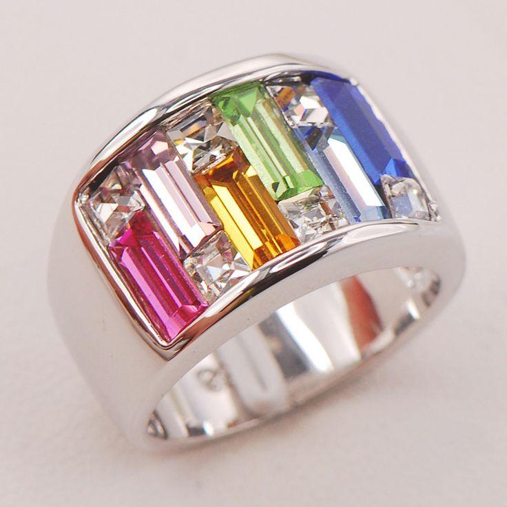 Pink Simulated Sapphire Morganite Citrine Peridot Aquamarine Blue Sapphire Women 925 Sterling Silver Ring F804 Size 6 7 8 9 10