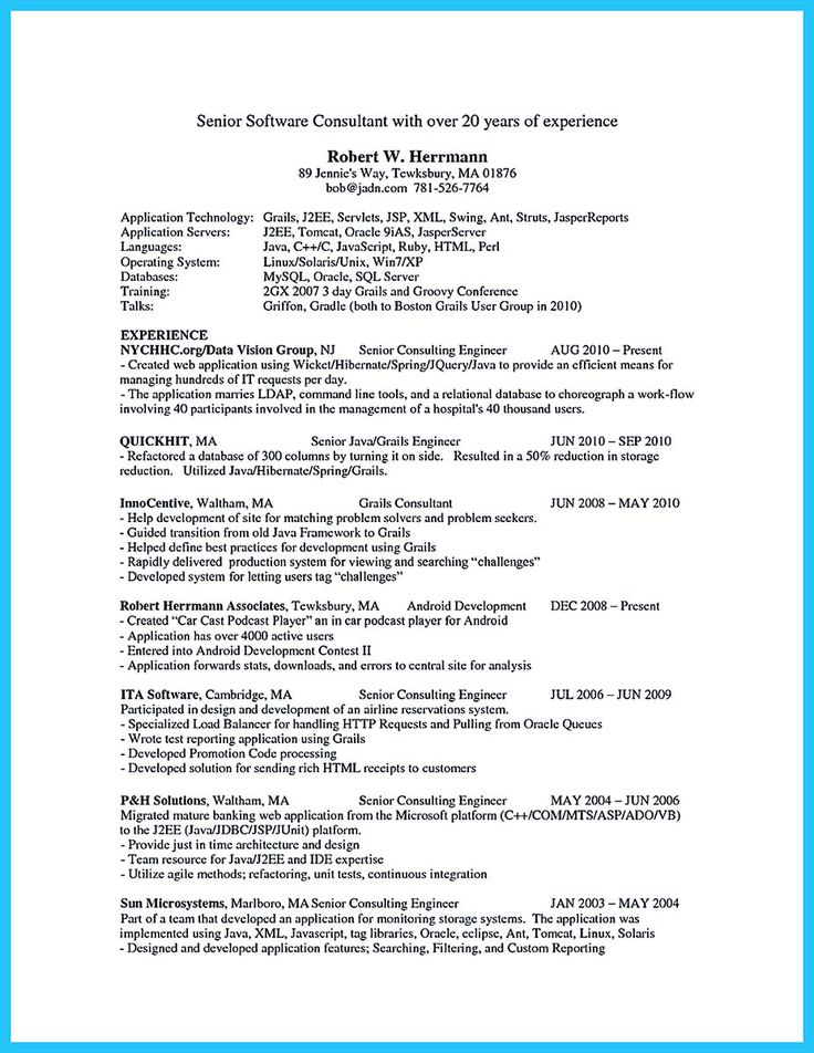 j2ee resume example