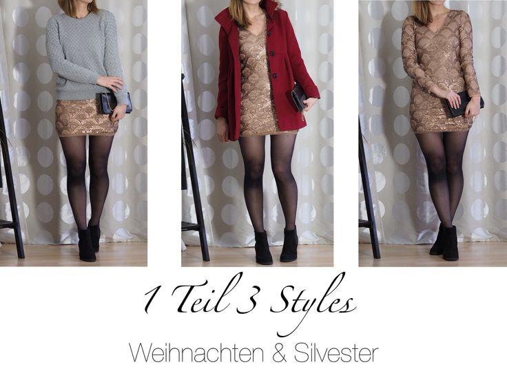 Weihnachtsmarkt Silvester Outfits ein Pailettenkleid stylen