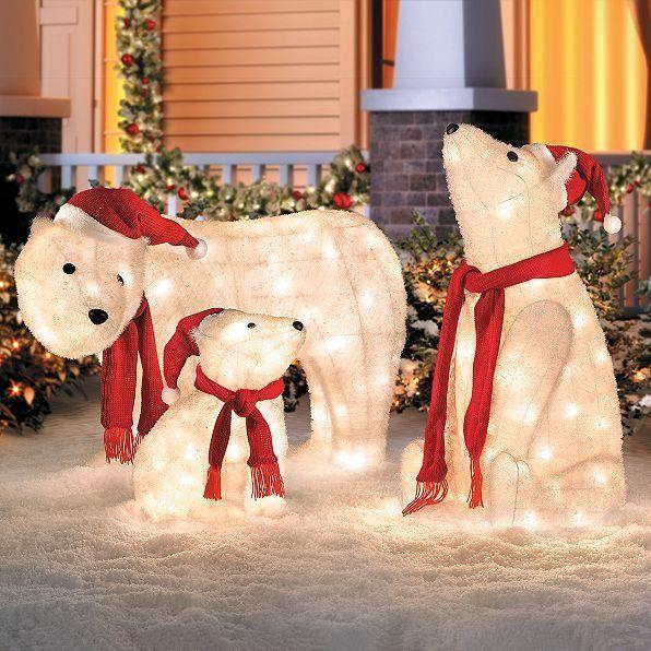 Set Of 3 Lighted Polar Bears Family Sculpture Display Outdoor Christmas Decor Nbnb