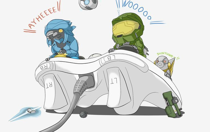 """Master Chief and an elite getting along - Master Chief's internal monologue, """"Pew pew, pew"""""""