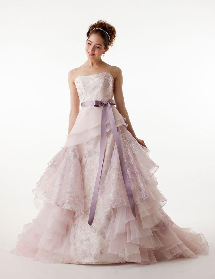ピンク ビスチェ チャペル オーガンザ サッシ ティアード ボールガウン カラードレス 花嫁ドレス 結婚式 Cmw0016