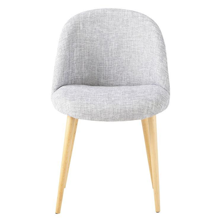 Chaise vintage en tissu et bouleau massif gris clair chiné Mauricette