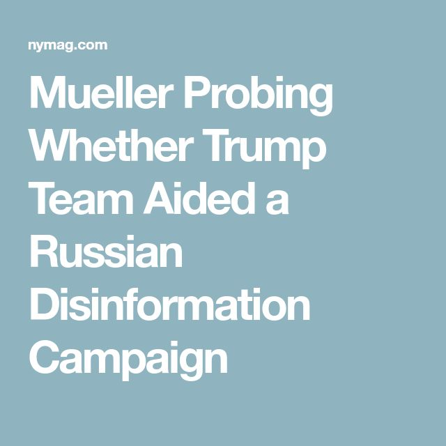 Mueller Probing Whether Trump Team Aided a Russian Disinformation Campaign