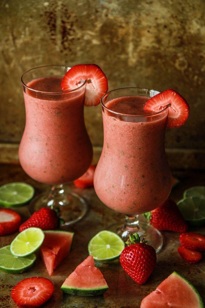 Strawberry Watermelon Basil Frozen Margarita   Heather Christo
