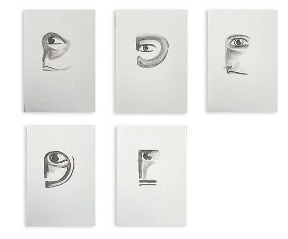 Faces collection on paper, 35 x 50cm. Charcoal on paper, portrait, original art, faces, fantasy