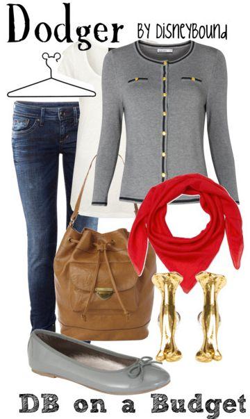 oliver's dodger: Character Inspiration, Red Scarfs, Dodgers Olives, Gray Cardigan, Disney Outfit, Inspiration Outfit, Disney Bound, Red Scarves, Disney Fashion