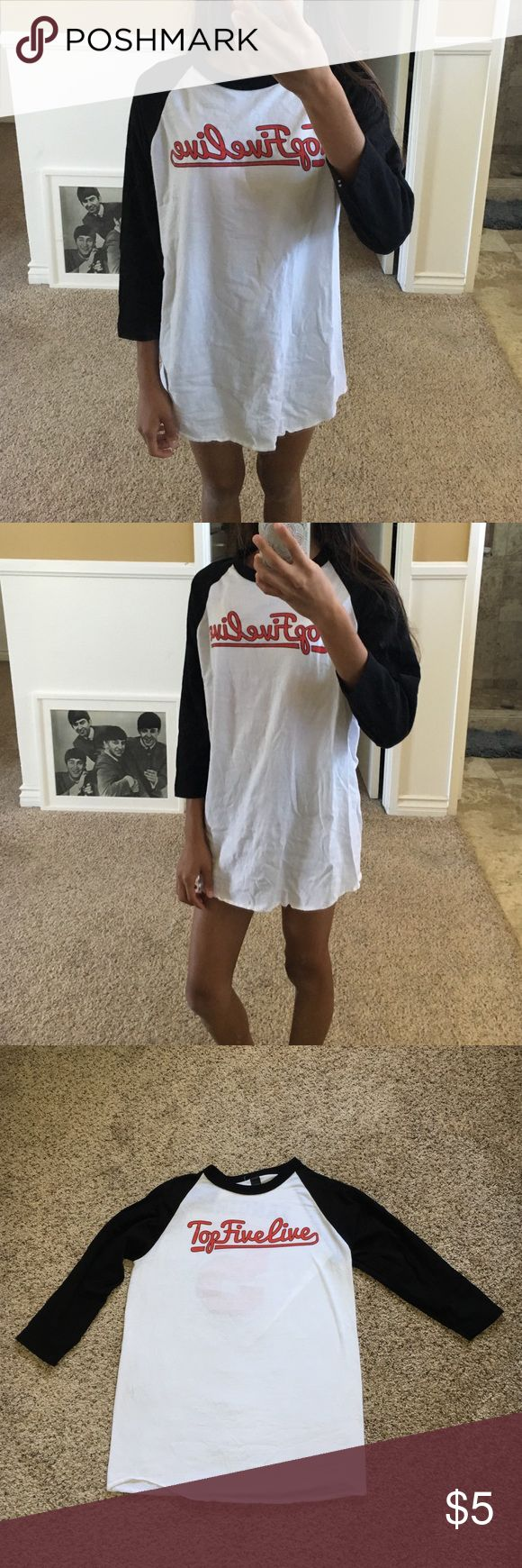 Top Five Line baseball tee Got this shirt from the MERRELL TWINS (if you know who they are) from vidcon!! Super comfortable for either pajamas or to wear to school. Size small but fits medium/large Tops Tees - Long Sleeve