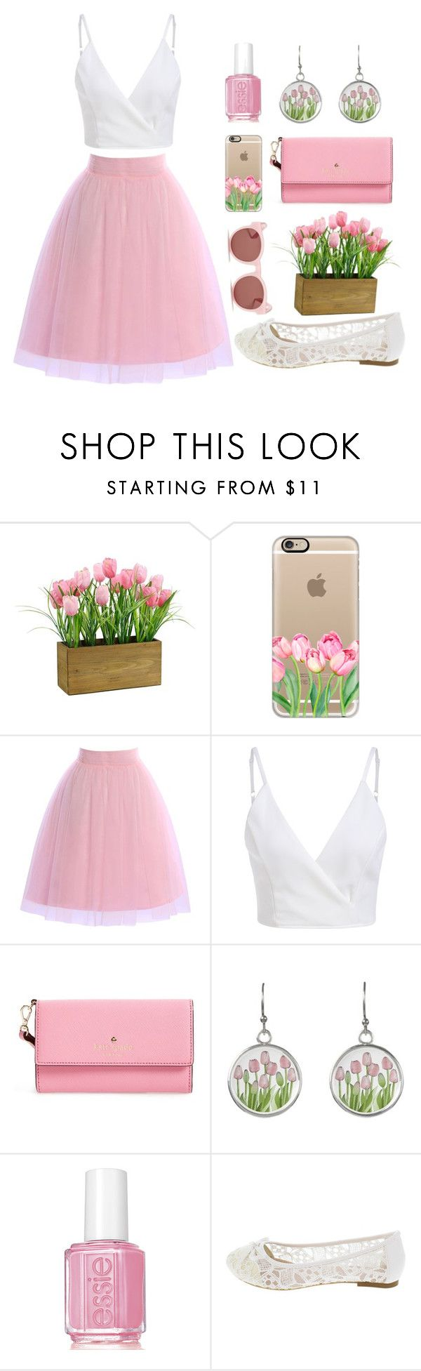 """""""Pink Tulip"""" by jilld727 ❤ liked on Polyvore featuring Casetify, Kate Spade, Essie and Blanc & Eclare"""