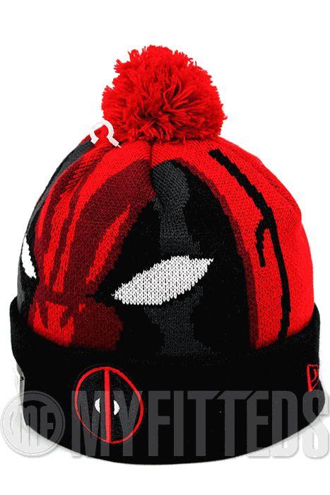 Deadpool Hero Woven Biggie Blood Red Jet Black Glacial White Kids Marvel New Era Pom Knit Skully