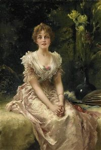 Damenportrait by Conrad Kiesel
