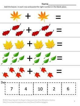 Strong counting skills will help students progress to a strong math foundation. This in turn benefits them as they advance through the grades. Practicing their counting skills with this Counting Fun With Autumn Leaves Cut and Paste worksheet packet will make learning fun. It consists of 17 worksheets as follows; Match the numbers Counting Leaves Add the Leaves Subtract the Leaves Leaves in the Wheelbarrow Match the Number to the Right Tree