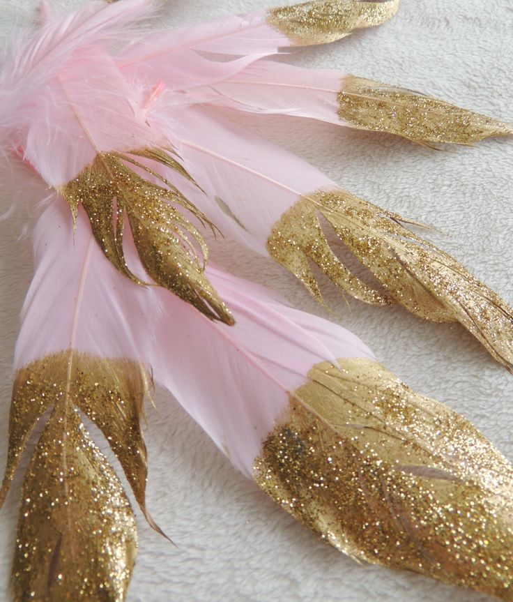 Baby Pink Gold Glitter Dipped Feathers Boho Decorations Photo prop Wedding Decor Nursery Baby Shower Backdrop Banner