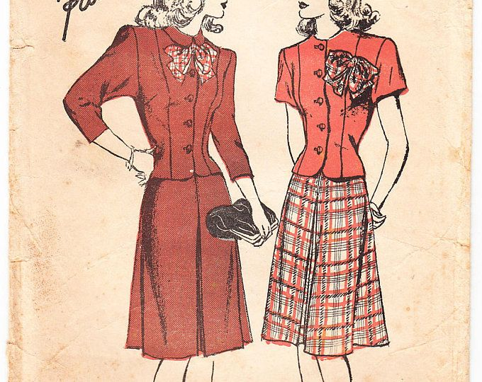 Vintage 1946 Advance 4405 Sewing Pattern Misses' Two-Piece Dress Size 11 Bust 29
