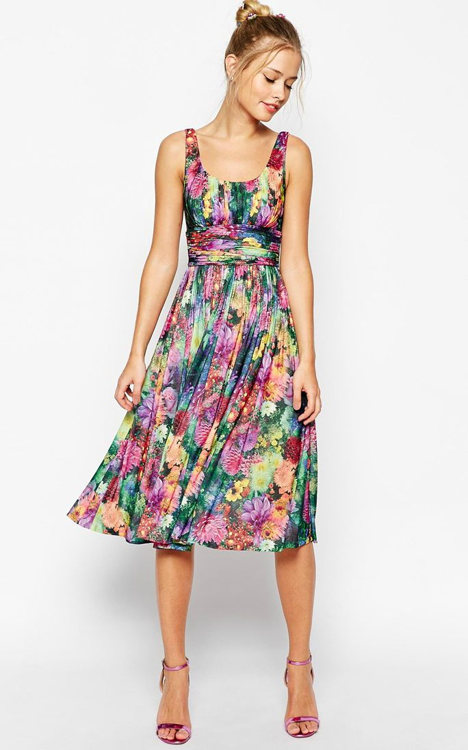 Floral midi dress for spring wedding guests dresses etc for Dressy dresses for wedding guests