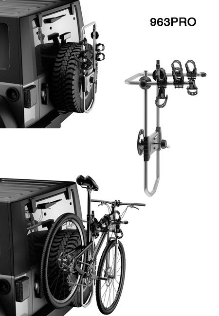 The new and improved Jeep Wrangler Spare Tire Mount Bike Rack by Thule. ($199.99)