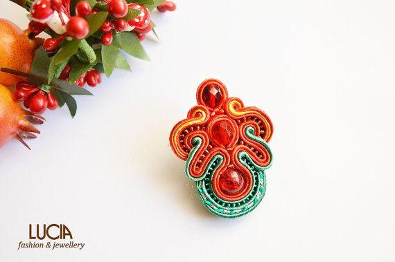 Soutache tulip brooch Beaded red jewelry Flower brooch