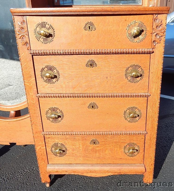 Details About Rare Quartered Oak Lingerie 4 Drawer Clothing Chest W/Cheval  Mirror Brass Pulls