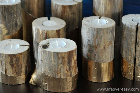 g3 gold dipped log candleholders2rs
