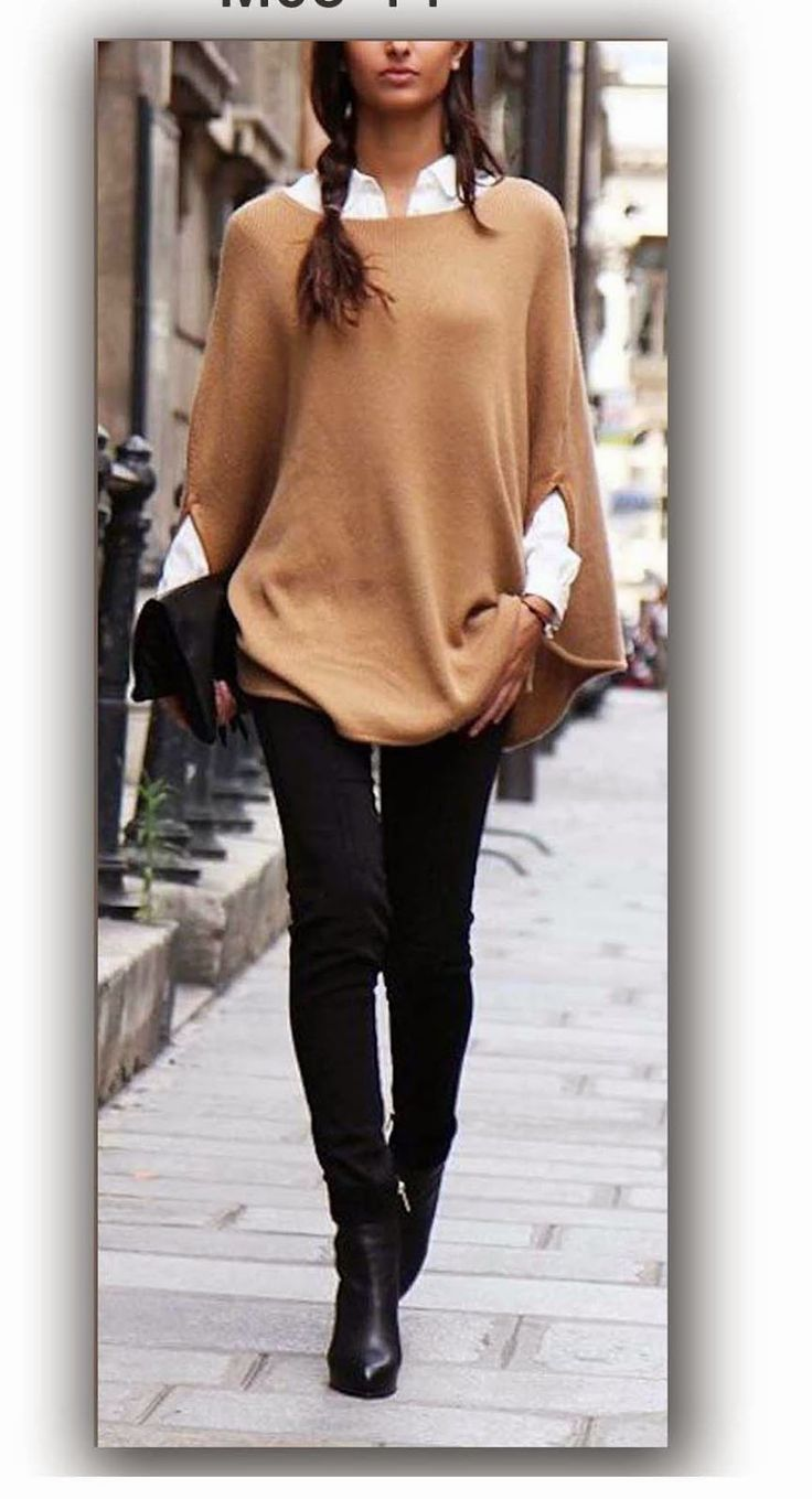 Blouse-cape in knitted fabric