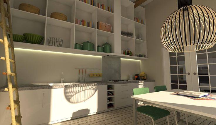 Mooie combinatie tussen meubels in hoogglans wit, houten vloer, retro stoelen van Gispen, RVS en een eyecatcher van een lamp....