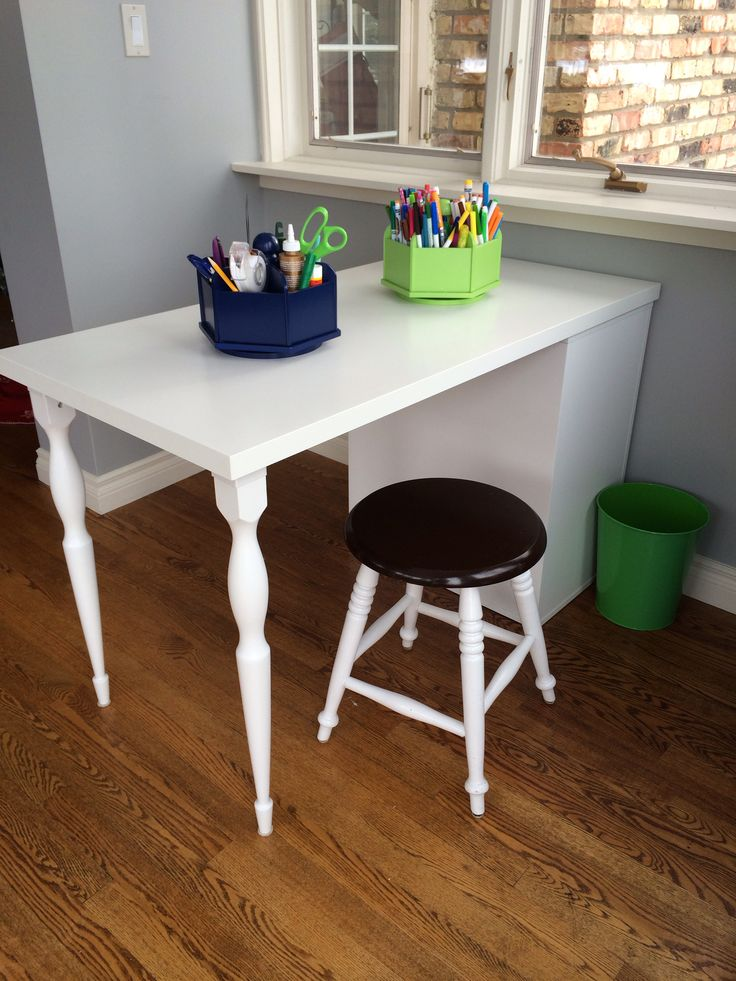 Craft Space AFTER. Craft Table For 2, Caddies From #potterybarnkids.