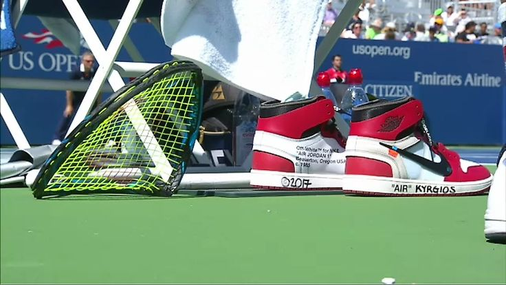 Nick Kyrgios an australian tennis player with the heat at US Open.