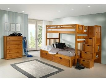 Tall Mission Stairway Bunk Bed with FREE Drawers or Trundle