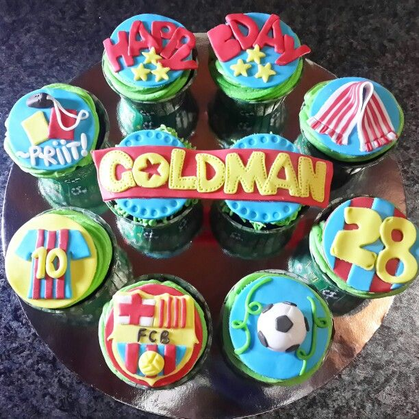 Barcelona themed cupcakes