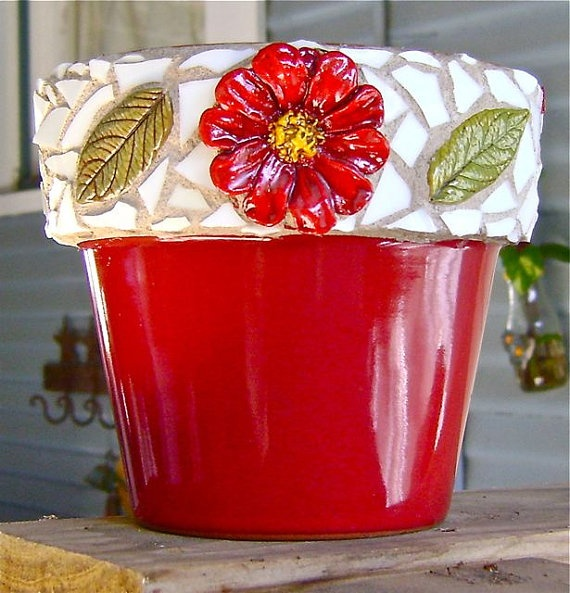 Red Pot w/ Mosaic Rim by BarbsCottage on Etsy, $20.00