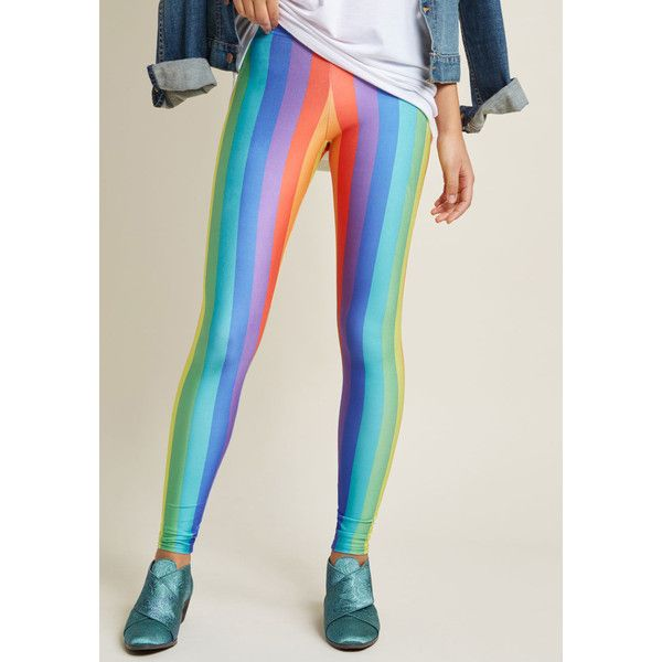 Prismatic Fanatic Leggings (36 CAD) ❤ liked on Polyvore featuring pants, leggings, stretch leggings, shiny leggings, vertical stripe pants, print pants and patterned leggings