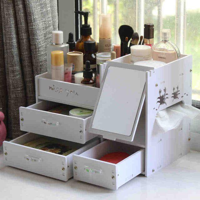 Organizador caja de almacenamiento de plástico con espejo de maquillaje maquillage rangement organizador organizador cosmético del maquillaje cajones de almacenamiento