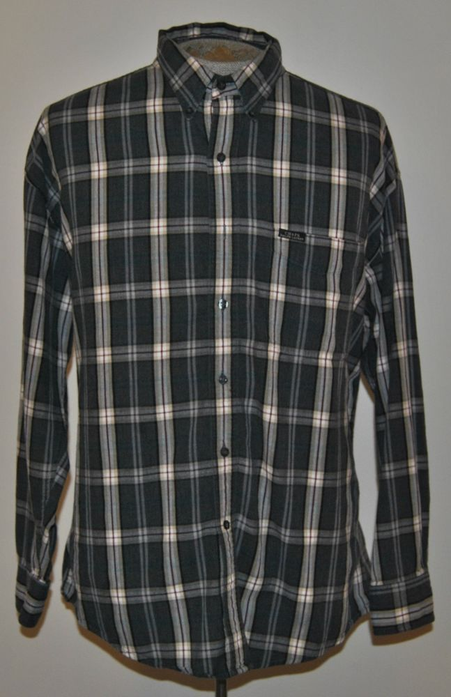 Ralph lauren chaps mens shirt large flannel gray plaid 100 for Chaps mens dress shirts