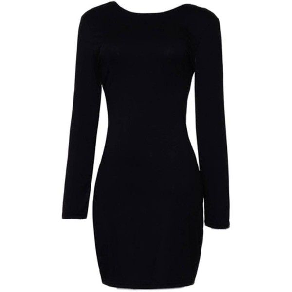 Style: Sexy      Material: Polyester ,Cotton Dresses Length: Above Knee-Length  Neckline: Round Collar  Sleeve Length: Long Sleeves  Pattern Type: Solid      P…