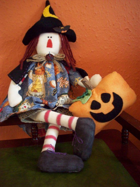 Primitive Witch Doll Halloween Decoration