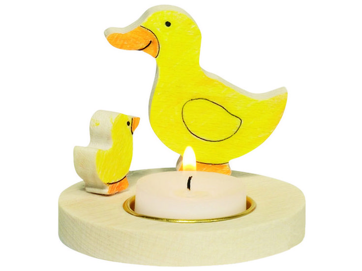Natural and high quality toys to the development of the skills of children. Wooden candle holder, to be painted, ducks