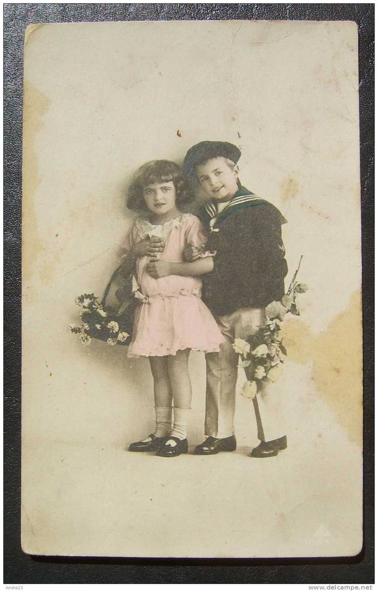 Latvia, children girl & boy with flowers roses - holidays - vintage tinted real photo postcard - 1923