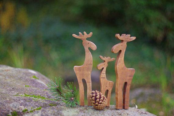 Alci in legno legno della renna alce alci di WoodMetamorphosisUK
