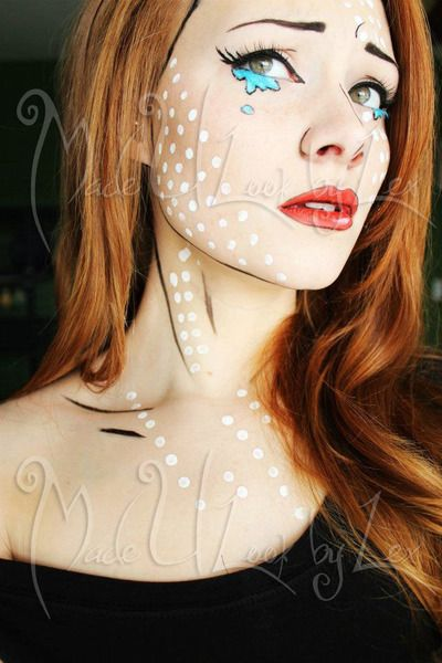 Amazing pop art makeup! I totally thought it was a cartoon.....
