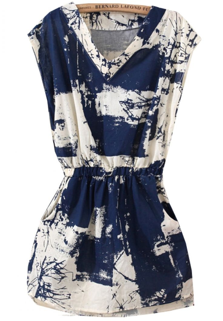 Buy Blue V Neck Sleeveless Floral Slim Dress from abaday.com, FREE shipping Worldwide - Fashion Clothing, Latest Street Fashion At Abaday.com