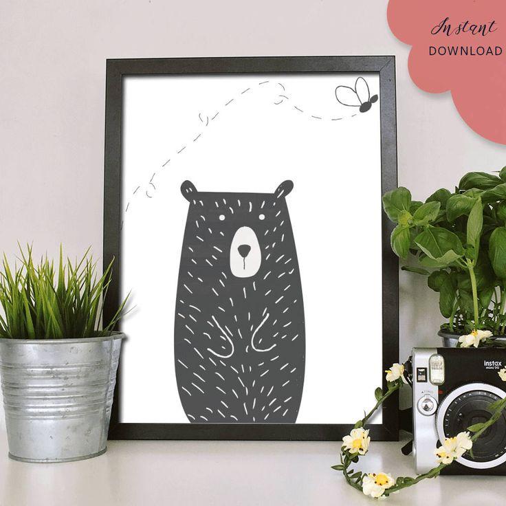 Bear Wall art, art print, wall decor, nursery decor, minimalist, Nursery wall art, baby shower gift, poster, printable by MandyandCo on Etsy