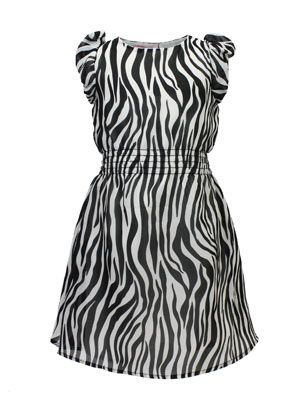 """""""Beetlejuice"""" Designer Girls Fully Lined All Over Zebra Print Chiffon Dress with Elasticated Waist. ONLY $18 http://www.kidsclothingrack.com.au/#!product/prd1/2795337021/uk-designer-'beetlejuice-zebra-print-chiffon-dress"""