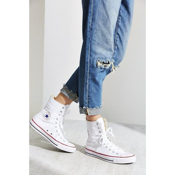 Converse Chuck Taylor All Star High Rise Sneaker ($65) ❤ liked on Polyvore featuring shoes, sneakers, white, star sneakers, flat shoes, converse trainers, converse sneakers and white flat sneakers