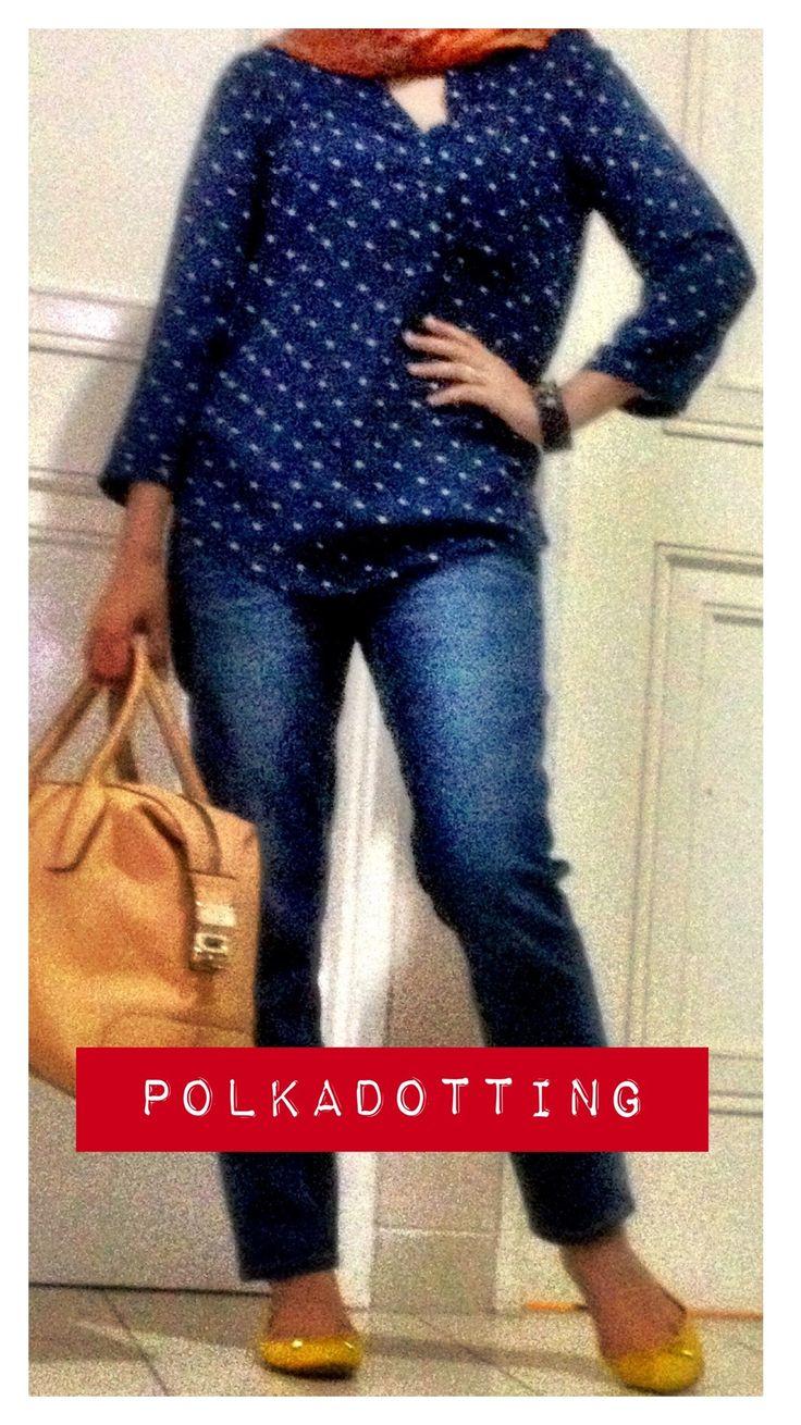 #polkadot #blue #jeans #tods #zara